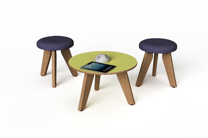 vito circular coffee table and stools